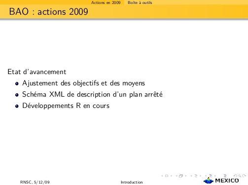 BAO actions 2009