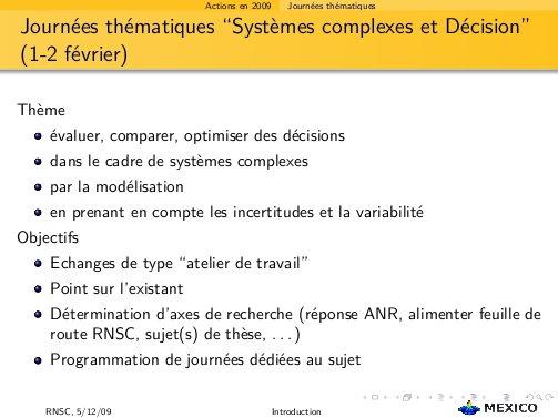 """J. thématiques """"systemes complexes et Decision"""""""